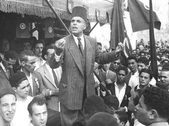 Tunisia's first president Habib Bourguiba (1957-1987) delivered a speech in Bizerte on 13 January 1952.