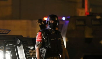 Jordanian security forces stand guard outside the Israeli embassy in the residential Rabiyeh neighbourhood of the capital Amman following an incident on July 23, 2017.