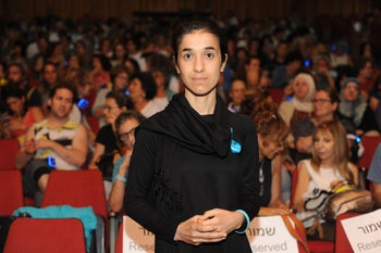 Nadia Murad, Yazidi human rights activist and the UN's Goodwill Ambassador for the Dignity of Survivors of Human Trafficking, a speaker at a rally organized by the Israeli Women Wage Peace grass-roots movement at Kfar Hahoresh in Israel, July 23, 2017.