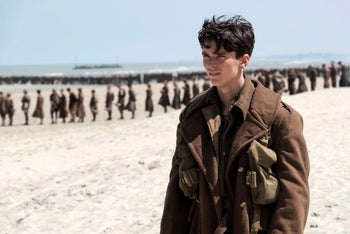 This image released by Warner Bros. Pictures shows Fionn Whitehead in a scene from 'Dunkirk.'