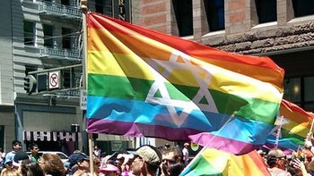 A Jewish pride flag, such as that banned at the LGBTQ march organized by the Chicago Dyke March Collective on June 24, 2017.