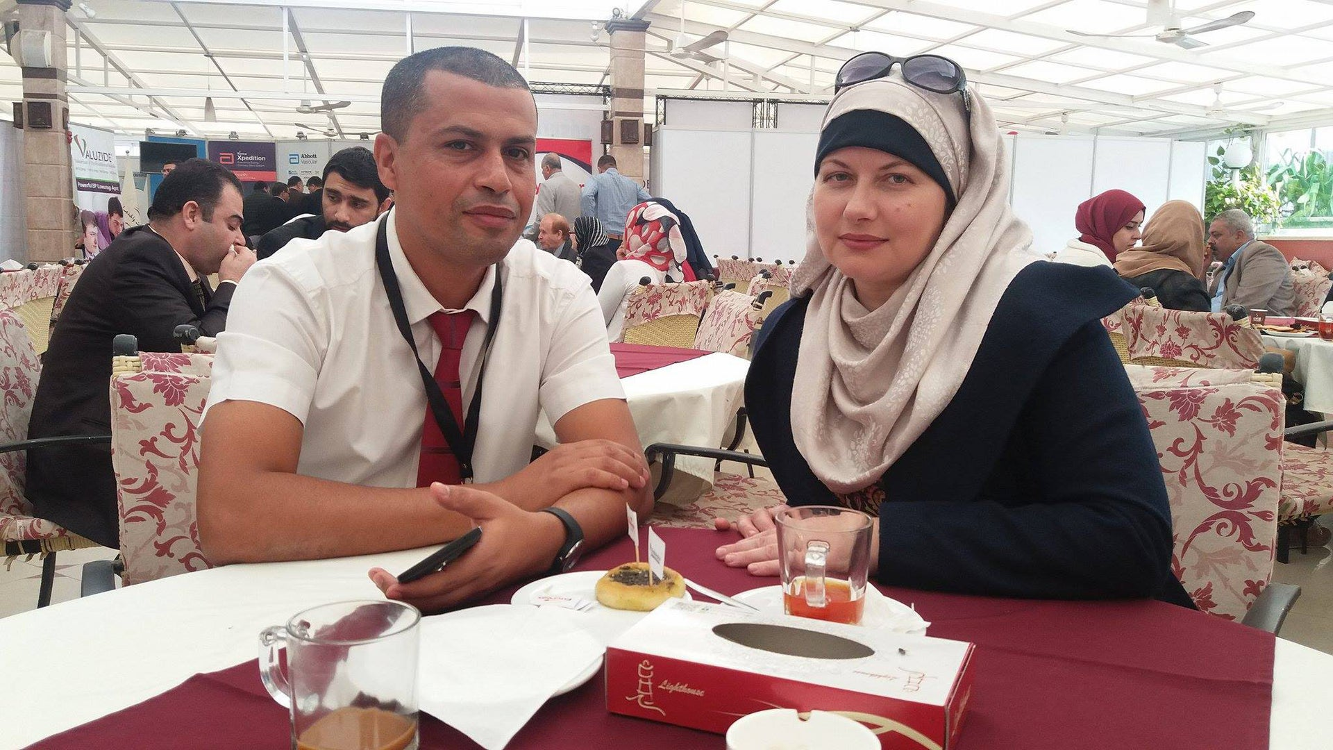 Tanya Kalub with her husband Mohammed at a heart surgery conference in Gaza in 2016.
