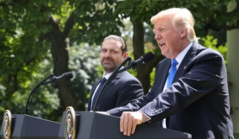 US President Donald Trump holds a news conference with Prime Minister of Lebanon Saad Hariri, in the Rose Garden at the White House on July 25, 2017.