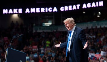 """U.S. President Donald Trump speaks during a """"Make America Great Again"""" rally in Youngstown, Ohio, July 25, 2017."""