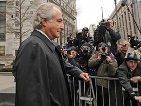 Bernard Madoff exits Manhattan federal court in New York, March 10, 2009.