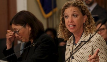 In this May 24, 2017, file photo, House Budget Committee member Rep. Debbie Wasserman Schultz, D-Fla. questions Budget Director Mick Mulvaney on Capitol Hill