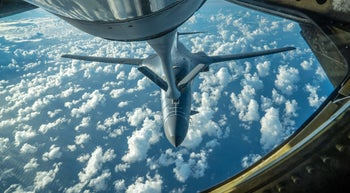 One of two U.S. Air Force B-1B Lancer bombers receives fuel from a KC-135 Stratotanker while flying a 10-hour mission from Andersen Air Force Base, Guam, into Japanese airspace and over the Korean Peninsula, July 30, 2017