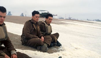 """This image released by Warner Bros. Pictures shows Harry Styles, from left, Aneurin Barnard and Fionn Whitehead in a scene from """"Dunkirk."""""""