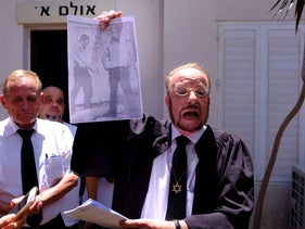 Elor Azaria's defense attorney Yoram Sheftel outside the military court in Tel Aviv, July 30, 2017.