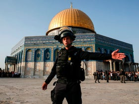 Israeli security forces in front of the Dome of the Rock, in the Haram al-Sharif compound in Jerusalem's old city, as clashes erupted between Israeli police and Palestinians. July 27, 2017