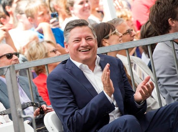 Netflix Chief Content Officer Ted Sarandos attends Jason Bateman's star unveiling ceremony on the Hollywood Walk of Fame, on July 26, 2017, in Hollywood, California. / AFP PHOTO / VALERIE MACON