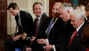 Jared Kushner, Reince Priebus, John Kelly, Rex Tillerson and Mike Pence (L to R) take their seats at the White House in Washington, U.S., May 18, 2017.