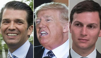 This combination of file pictures created on August 1, 2017 shows (L-R) Donald Trump, Jr., Donald Trump and Jared Kushner