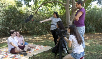 Arab and Jewish Israelis participating in Beit Berl College's summer camp on getting to know one another through documentary filmmaking, August 2017.