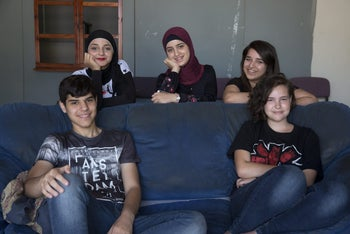 Najeb Abu Kheid, lower left, Tal Arazi, lower right and Haya Eqeiq, upper right, at Beit Berl College's summer camp on documentary filmmaking, August 2017.