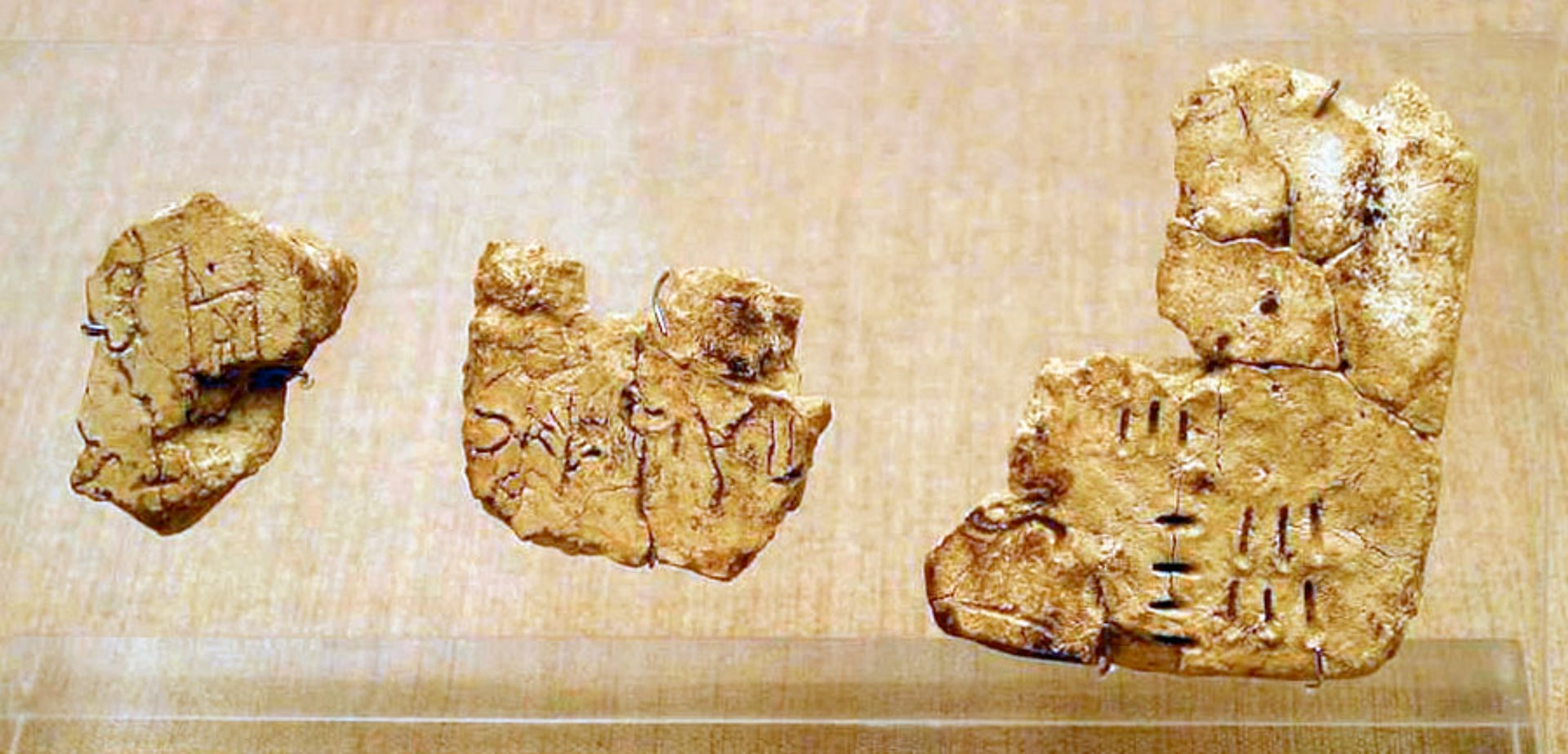 Linear A incised on tablets found in Akrotiri, Santorini.