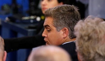 CNN White House correspondent Jim Acosta attends the daily press briefing, during which he had a contentious exchange with White House senior policy advisor Stephen Miller, at the White House in Washington, U.S. August 2, 2017.
