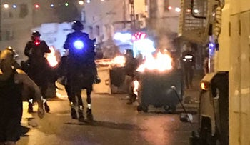 Police and protesters clash in Jaffa, July 3, 2017.