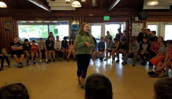 Tallulah, a Christian Kids4Peace participant from Seattle, at Camp Solomon Schechter in Olympia, Washington, summer 2017.