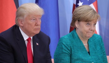 U.S. President Donald Trump and German Chancellor Angela Merkel attend the Women's Entrepreneurship Finance event during the G20 leaders summit in Hamburg, Germany July 8, 2017.