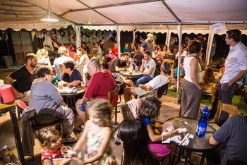 """Revelers celebrate their monster victory in Jerusalem in the fact over the """"Monster pub"""" – a secular bastion that town hall has tried to shut down"""
