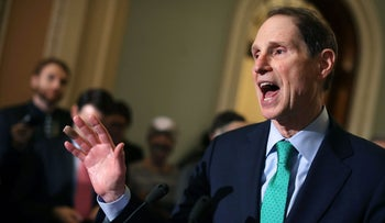 File photo: Sen. Ron Wyden talks with reporters following the Senate Democratic policy luncheon at the U.S. Capitol August 1, 2017 in Washington, DC.