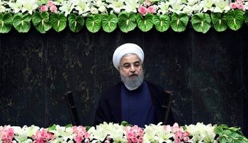 Iran's President Hassan Rohani delivers a speech after his swearing-in ceremony for the second term in office, at the parliament in Tehran on Saturday Aug. 5, 2017.