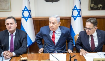Prime Minister Benjamin Netanyahu in a Knesset cabinet meting on August 8, 2017.