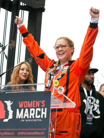 Amy Schumer addressing the crowd during the Women's March rally in Washington, January 21, 2017.