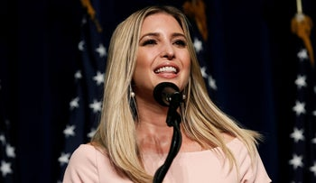 Ivanka Trump, daughter of Republican presidential nominee Donald Trump at a campaign rally in Greenville, North Carolina, on September 6, 2016.