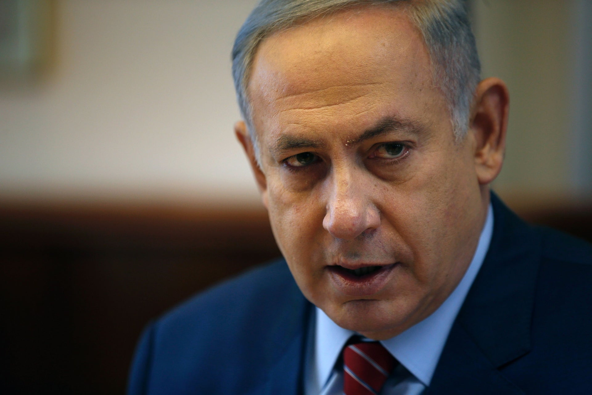 Israeli Prime Minister Benjamin Netanyahu chairs the weekly cabinet meeting at his Jerusalem office on April 3, 2016.