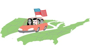 Illustration: Sayed Kashua on a road trip with his family.