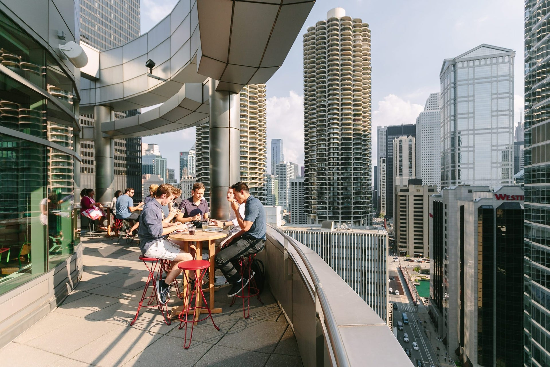 A terrace at WeWork Kinzie, Chicago.