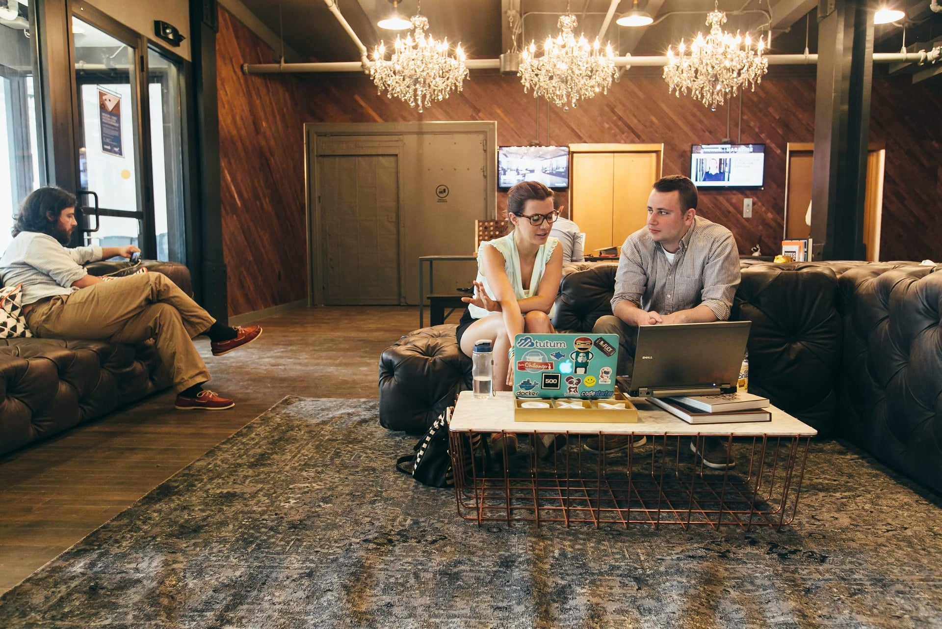 Meeting in WeWork at 401 Park Avenue South, New York.