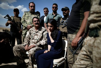 Yazidi survivor and United Nations Goodwill Ambassador for the Dignity of Survivors of Human trafficking Nadia Murad visits her village for the first time in Kojo, Iraq on June 1st, 2017 after being captured and sold as a slave by the Islamic State three years ago.