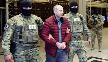 Russian-Israeli blogger Alexander Lapshin upon his landing in Baku after being extradited from Belarus to Azerbaijan, February 7, 2017.