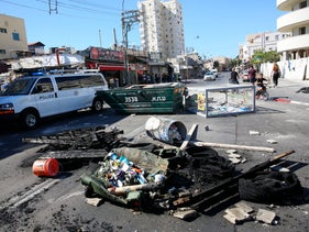 Clashes erupted between Jaffa residents and police on July 29 2017 after police shot and killed one young Arab man and moderately wounded another. Police say the two were fleeing the scene of a previous shooting. Rioters burned tires in Jaffa streets.