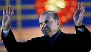 Turkish President Recep Tayyip Erdogan delivers a speech during a rally of supporters a day after a referendum widened his powers, Ankara, Turkey, April 17, 2017.