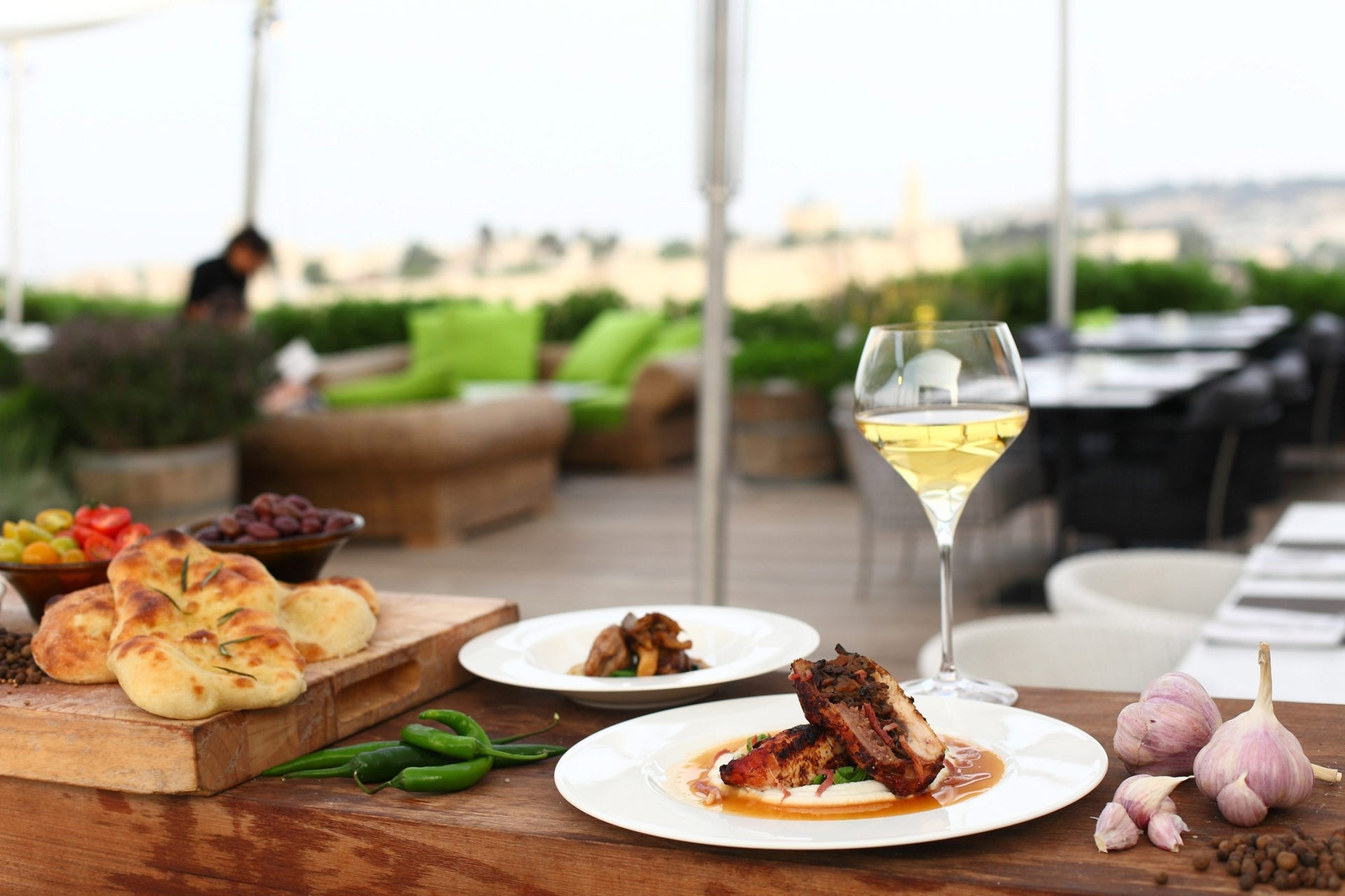 Food and drink from Jerusalem's RoofTop Restaurant in the Mamilla Hotel. Taking local food into the realm of haute cuisine.