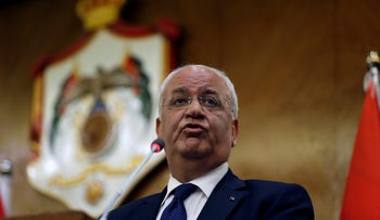 Palestinian chief negotiator Saeb Erekat speaks during a joint news conference with Foreign ministers of Jordan Ayman Safadi, and Egypt Sameh Shoukry in Amman, Jordan, May 14, 2017.