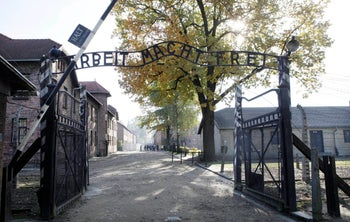 The main gate at the former German death camp of Auschwitz, in Oswiecim, Poland.