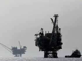 File photo: Israeli gas platforms in the Mediterranean sea.