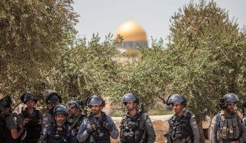 Israeli Border Police monitoring Muslim worshippers outside Jerusalem's Temple Mount, July 28, 2017