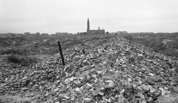 The remains of the Warsaw ghetto, which the German SS dynamited to the ground, in 1945