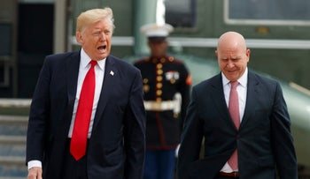 U.S. President Donald Trump and National Security Adviser H.R. McMaster walk from Marine One to board Air Force One at Andrews Air Force Base, Maryland, June 16, 2017.