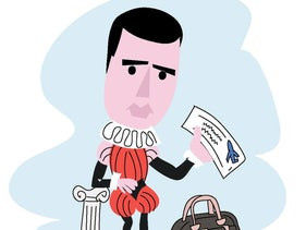 Illustration: Sayed Kashua dressed in medieval British garb and holding a plane ticket.
