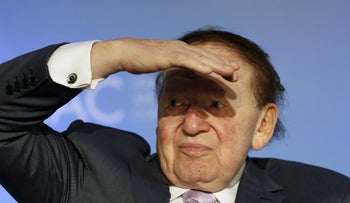 Sheldon Adelson at the National Israeli-American Conference in Washington October 19, 2015