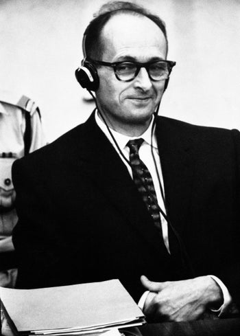 Adolf Eichmann stands on trial in Jerusalem. The 1961 trial in Jerusalem was considered a turning point in Israeli attitudes toward the Holocaust.