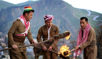 Iraqi Kurds celebrate the Noruz spring festival.
