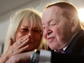 Miriam and Sheldon Adelson attending a cornerstone-laying ceremony for the building named after them at Ariel University in the West Bank, June 28, 2017